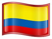 Colombia Flag Icon.  ( With Clipping Path )