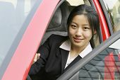 business women with her car