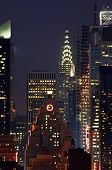 Manhattan Mid-Town Skyline At Night, New York City poster