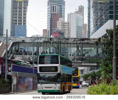 Busy City Street Doubledecker Trams