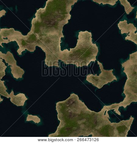 Fantasy Planet Terrain Seamless Texture Or Background Illustration poster
