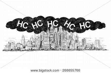 Vector Artistic Pen And Ink Drawing Illustration Of High Rise Building And  Smog Covering The City  E poster