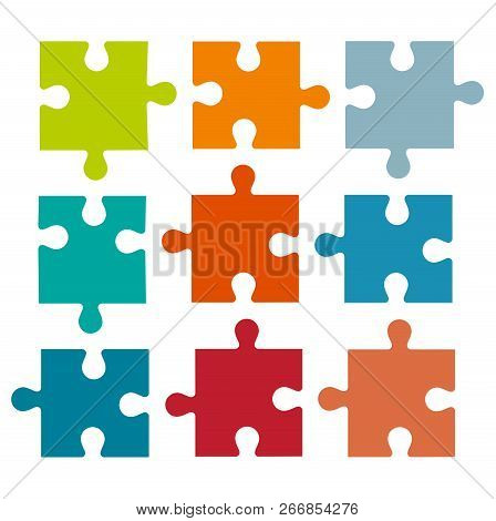 Set Of Different Colored Puzzle