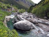 Mountain river in Verzasca Valley, Switzerland