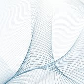 Vector Curved Lines On White Background. Technology 3-dimensional Effect. Abstract Line Art Pattern. poster