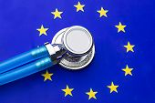 Stethoscope With European Union Flag. Stethoscope Over European Flag poster