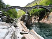 Famous double arch bridge in Verzasca valley, Southern Switzerland