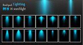 A Set Of Searchlights. Vector Light Sources, Concert Lighting, Steel Floodlights. Concert Spotlight  poster