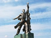 MOSCOW JULY 13: Famous Soviet monument of the Worker and Collective Farmer July 13, 2003 in Moscow,