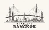 Bangkok Skyline, Thailand Vintage Vector Illustration, Hand Drawn Bangkok City On White Background. poster