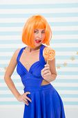 Girls Party. Crazy Girl With Lollipop. Girl With Orange Hair. Crazy Party Girl. Sexy Woman Hold Loll poster