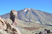 The famous Finger Of God rock formation and Teide volcano. Tenerife island, Canaries