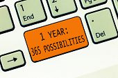 Conceptual Hand Writing Showing 1 Year 365 Possibilities. Business Photo Text Beginning Of A New Day poster