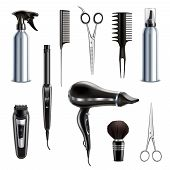 Barber Shop Hairdresser Styling Tools Realistic Collection With Hairdryer Scissors Trimmer Clipper S poster