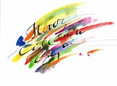Motivation Inspiration Iluustrated In Watercolor, Never Know Till You Try, Abstract Colorful Backgro poster