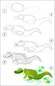 Page Shows How To Learn Step By Step To Draw A Cute Crocodile. Developing Children Skills For Drawin poster