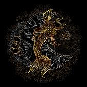 Hand Drawn Asian Spiritual Symbols - Gold Koi Carp With Lotus And Florid Crescent On A Black Backgro poster