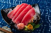 Tuna Sashimi Slice Cutting. poster