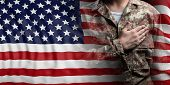 United States Of America Flag And Soldier With Hand On His Heart. 3D Illustration poster