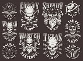 Vintage Wild West Logotypes Set With Cowboy And Sheriff Skulls Badge Guns Arrows Bones Inscriptions  poster