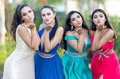 A group of teenage girls going to their prom dance  poster