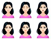 Face Expressions Of Beautiful Woman With Dark Hair And Cute Hairstyle. Set Of Different Female Emoti poster
