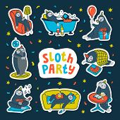 Animal Party. Lazy Sloth Party. Cute Sloths Having Fun At A Lazy Party. Vector Illustration. poster