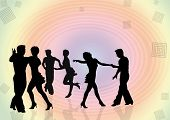 Background With Silhouettes Of The Young People Dancing In A Disco