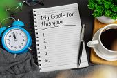 New Years Resolution Concept. Notepad On Black Home Office Desk - My Goals For This Year. poster