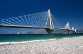 suspension bridge crossing Corinth Gulf strait, Greece.  Its official name is the Charilaos Trikoupi