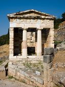 The reconstructed Temple of Treasury of the Athenians of Sanctuary of Apollo in oracle Delphi, Greec