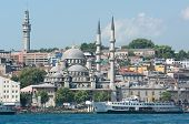 Istanbul and Yeni Mosque view on the Bosporus waterfront from Galata bridge