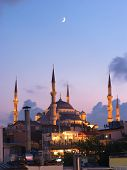 Aya Sofya mosque and the arabian moon at the twilight in Istanbul, Turkey