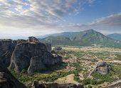aerial view of rock formation of Meteora and village of Kastraki-Kalambaka