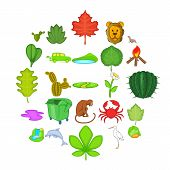 Ecology Sustain Icons Set. Cartoon Set Of 25 Ecology Sustain Vector Icons For Web Isolated On White  poster