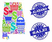 Best Shopping Combination Of Mosaic Map Of Alabama State And Scratched Seals. Vector Blue Seals With poster