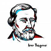 Ivan Turgenev Engraved Vector Portrait With Ink Contours. Russian Novelist, Short Story Writer, Poet poster