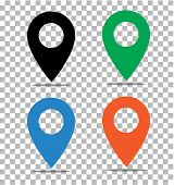 Location Pin Icon On Transparent. Pin On The Map Sign. Flat Style. Black, Green, Blue And Orange Loc poster