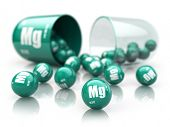 Capsule with magnesium Mg  element.  Dietary supplements. Vitamin capsule isolated on white. 3d illu poster