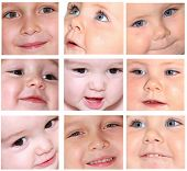 Various babies smiles, faces details