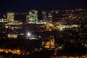 Evening View Of Vysehrad And The Modern Prague 4 Skyline Prague. V-tower. View From Petrin Tower. Cz poster