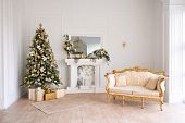 Christmas Decor In Studio Of A Classic Style Living Room With A Vintage Armchair, Fireplace, Christm poster