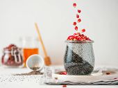 Healthy Breakfast Concept And Idea - Two Colors Chia Pudding With Organic Raw Pomegranate. Glass Jar poster