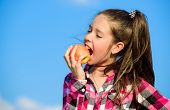 Apple Fruit Diet. Kid Hold Ripe Apple Sunny Day. Kid Girl With Long Hair Eat Apple Blue Sky Backgrou poster