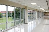 stock photo of hall  - Empty hall with lots of windows - JPG