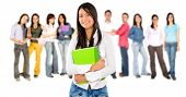 picture of students classroom  - Casual woman with a group of college students smiling  - JPG