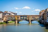 View On Famous Ponte Vecchio In Ancient Italian Town Florence poster