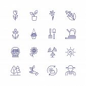 Gardening Icons. Set Of Line Icons On White Background. Flowers, Gardening Tools, Agricultural Worke poster