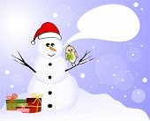 Snowman with lucky birds and gifts