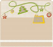christmas card with stars, tree and present